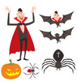 Cartoon dracula symbols vampire icons