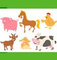 cartoon funny farm animal characters set vector image vector image