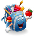 cartoon school bag holding red apple vector image