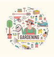 circular composition with gardening tools or vector image
