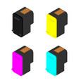 cmyk and black cartridges isolated on white vector image vector image