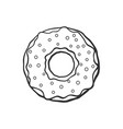 doodle donut with glaze and powder vector image