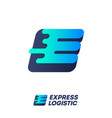 express logistic logo e and l monogram with wind vector image
