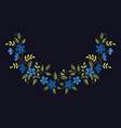 floral embroidery set with blue flowers for your vector image