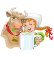 Girl hugging a cow and a farmer holding a cup of vector image