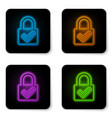 glowing neon open padlock and check mark icon vector image vector image