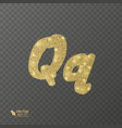 golden shiny letter q on a transparent background vector image