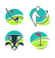 golf labels collection with equipments and prizes vector image vector image