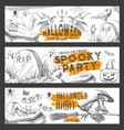 halloween night sketch party banners vector image
