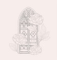 hand drawn old gothic window vector image vector image