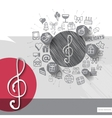Hand drawn treble clef icons with icons background vector image vector image