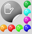 Hand print Stop icon sign Set of eight vector image