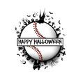 happy halloween and baseball ball vector image vector image