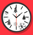 happy new year christmas time concept wall clock vector image vector image
