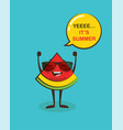 it is summer time funny watermelon character vector image vector image