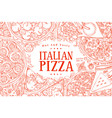 italian pizza top view frame a set of vector image vector image