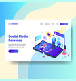 landing page template of social media services vector image vector image