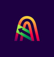 letter a logo with arrow inside vector image vector image