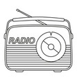 line art black and white retro radio vector image vector image