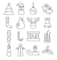 line craft icons set of christmas theme vector image