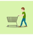 Man with shop cart cartoon vector image