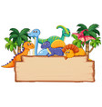 many dinosaur on wooden board vector image vector image