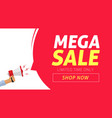 mega sale banner design with limited time discount vector image vector image