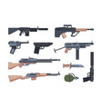 military weapons and munition flat vector image vector image