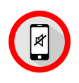 Mobile phone ringer volume mute sign vector image