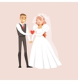 Newlyweds Holding A Pink Heart Together At The vector image vector image