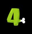 number 4 zombie monster font four bones vector image vector image