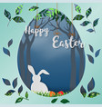 paper art in egg shape background for happy easter vector image