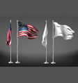 realistic clipart with damaged dirty flags vector image