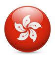 Round glossy icon of hong kong vector image