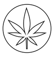 Round tablet marijuana icon outline style vector image vector image