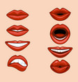 set female lips expressing different emotions vector image