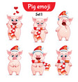 set of christmas pig characters set 1 vector image