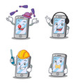 set of iphone character with juggling headphone vector image vector image