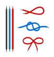 shoe laces straight and tied in different knots vector image vector image