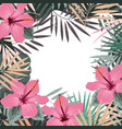 square summer border with tropical palm leaves vector image vector image