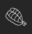 sushi chalk white icon on black background fresh vector image