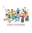 time to sport with cartoon sportive young and old vector image