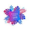 tropical palm leaves summer sale card or banner vector image vector image