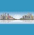 welcome to dubai uae skyline with gray buildings vector image vector image
