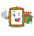 with gift picture frame mascot cartoon vector image vector image