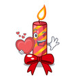 with heart christmas candle combined with pita vector image