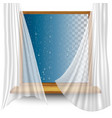 wooden window frame with curtains and water vector image vector image