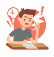 worried upset teen student on exam education and vector image vector image