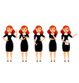 business woman in various poses flat vector image