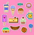 set of kawaii food characters sweets and vector image